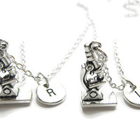 2 Personalized Microscope Best Friends Necklaces, 2 Best Friends Necklaces, Microscope Necklace, Science Best Friends Necklaces