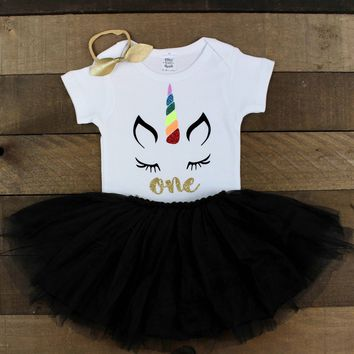 Unicorn 1st Birthday Outfit | Unicorn One 1st Birthday Bodysuit Black Tutu Skirt | 1st Birthday Outfit | Unicorn Rainbow 1st Birthday Outfit