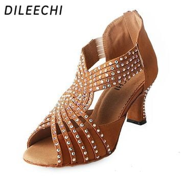 DILEECHI Diamond bronze black Satin Latin dance shoes woman Sals 6fe2222db852