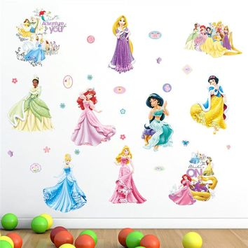 Princess Wall Sticker Cartoon Kids Room Decoration Fairy Decal For Girl's Room Nursery Home Decor Mural Poster Art