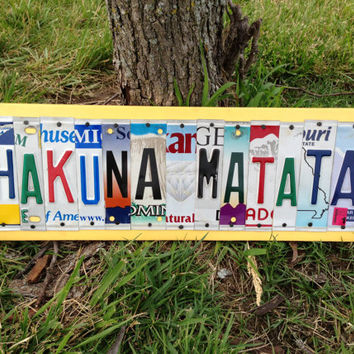 Create Your Own Custom Personalized Sign Art made from Recycled License Plates Birthday or Wedding Gift