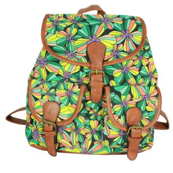 Cute Flower Print School Bag Canvas College Backpack Daypack