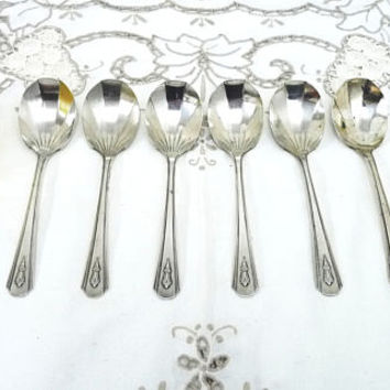 Art Deco Design Dessert Spoon x 6, Desert Spoons, Shell Shaped Bowls, EPNS, Ornate Handle, Vintage Spoons, Flatware, Tableware, 0113