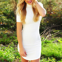White Turtleneck Short Sleeve Bodycon Dress