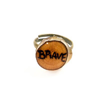 Brave Ring, Inspirational Ring, Wood Slice Ring, Men's Ring, Natural Ring, Wooden Ring, Wooden Jewelry, Wood Jewelry