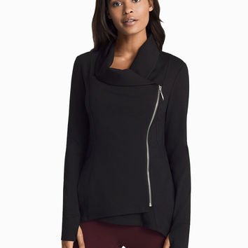 White House Black Market Asymmetrical Zip-Front Black Jacket