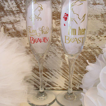 Custom Disney wedding gift, unique wedding gifts for the couple, wedding reception glassware, champagne toasting flutes for Mr. and Mrs.
