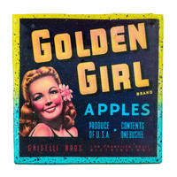 Handmade Coaster Golden Girl Apple Brand - Vintage Citrus Crate Label - Handmade Recycled Tile Coaster