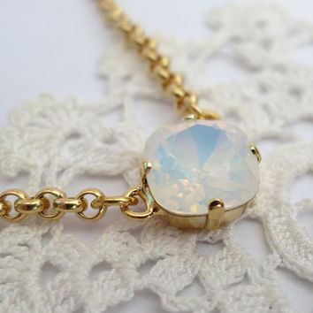 White Opal Crystal Necklace Gold, Swarovski 12mm square Pendant White Opal Rhinestone rolo Gold chain Necklace, Prom Bridal Feminine Jewelry