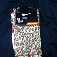 Cheetah Print Breast Cancer Nike Elite Socks