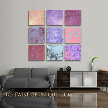 Vivid Abstract Painting, ORIGINAL 12 square ( 15 Inch x 15 Inch)  abstract wall art,- Pink, Purple, Electric blue, Mauve, gray