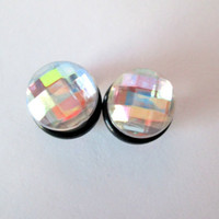 Clear Faceted Gems Plugs - Available in 2g, 0g, and 00g.