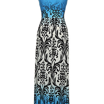 Loila Royal Blue and Black Printed Design Strapless Maxi Dress