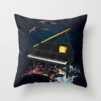 Sound of Piano Throw Pillow by Berwies