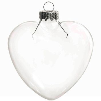 Free Shipping - DIY Paintable Transparent Christmas Decoration, 85mm Heart Glass Ornament With Silver Cap, 100/Pack