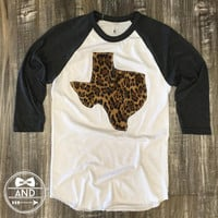 "Handmade Texas Outline Baseball Shirt, T-Shirt,Tee- ""Call of the Wild"""