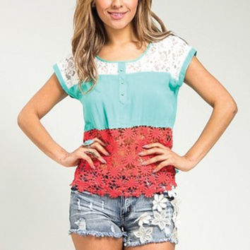 Coral and Mint Lace Cap Sleeve Shirt