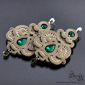 Long beige Dangle Earrings, Long emerald Soutache Earrings, Long Beige Soutache Earrings, Unique beige Soutache Earrings, Glamour Earrings