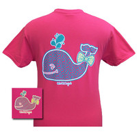 Girlie Girl Originals Cute Whale Big Bow Heliconia Bright T Shirt