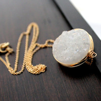 Snow Necklace - Druzy Gemstone