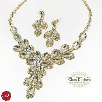 Floral Oval Crystal Cluster Bridal Necklace & Earrings Set