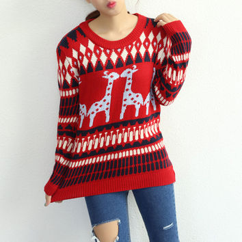 Red Reindeer Geometric Print Sweater