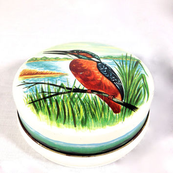 Vintage Riley's Toffee Tin King Fisher Bird Round Decorative Tin Keepsake Trinket Box Bird Gift Box Tin Jewelry Box Collectible English Tins