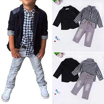 Summer Baby Boys Dress Suits Clothes for Gentleman Boys Children Shirts Pants Kids Suit Jacket + Plaid Shirt + Jeans 3pcs/set