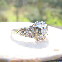 1940s Diamond Engagement Ring, Sparkly Diamonds, Charming and Sweet Retro Design, 18K White Gold, Ring O' Romance