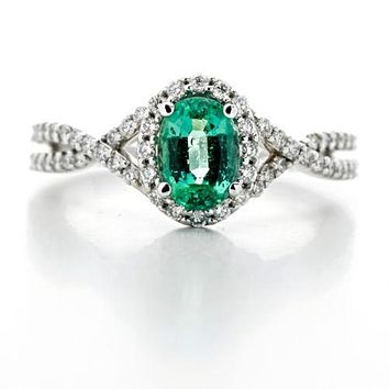 Oval Natural Emerald 14k White Gold Diamond Halo Engagement Ring