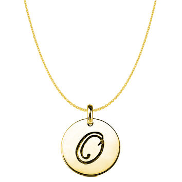 """""""O"""" 14K Yellow Gold Script Engraved Initial Disk Pendant"""
