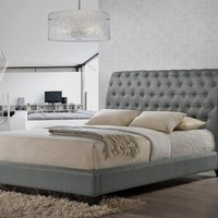 Baxton Studio Jazmin Tufted Light Beige Modern Bed with Upholstered Headboard – King Size Set of 1