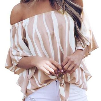 Off The Shoulder Pink White Vertical Stripes Blouse