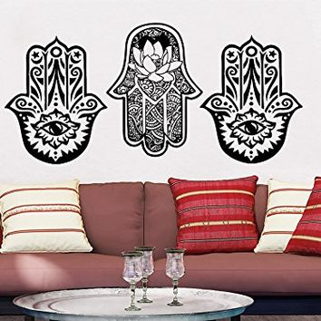 Wall Decal Vinyl Sticker Decals Hamsa Hand Lotus Flower Yoga Namaste Indian Ornament Fatima Hand Wall Stickers Home Decor Art Bedroom Design Interior Mural C2