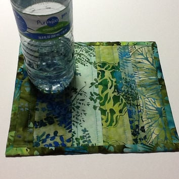 Green and Blue Quilted Batik Mug Rug,  Candle Mat,  Batik Mini Quilt, Quiltsy Handmade
