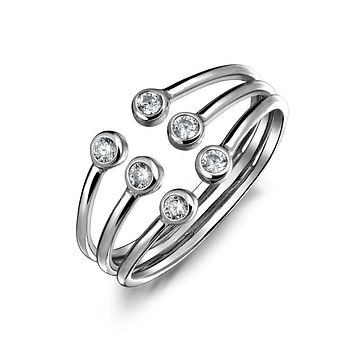 Stacking Style CZ Open 3 Row Band Ring 925 Sterling Silver Adjustable