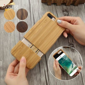 KISSCASE 2 In 1 Case For iPhone 7 8 Plus Cover Natural Wood Hard Protective Case For iPhone 7 8 Plus Detachable Ultra Slim Coque