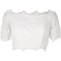 Cream lace embroidered bardot crop top