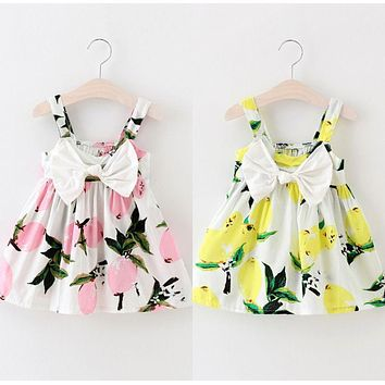 Toddler Infant Kids Baby Girls Summer Floral Lemon Bownot Dress Princess Party Wedding Tutu Dresses