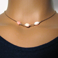 Pink Conch Shell and Pearl Necklace - Short Necklace - Bronze Gold Tone - Layering Necklace