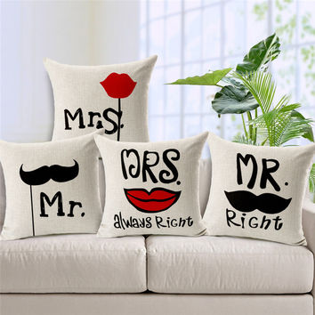 Mr Right And Mrs Always Right Cushion  Printed Linen Pillowcase For Sofa Furniture & Home Decorative