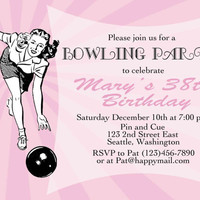 Bowling Birthday party invitation, printable, DIY