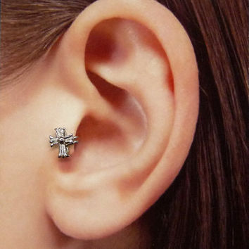 Silver cross Ear Cuff, Nose cuff, Tragus cuff, cross ear cuff, Silver ear cuff,  Non Pierced Nose Ring, Cartilage, Fake piercing