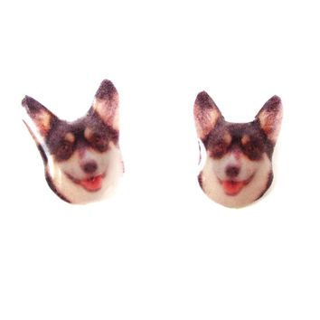Realistic Welsh Corgi Head Shaped Animal Resin Stud Earrings in Black and Tan