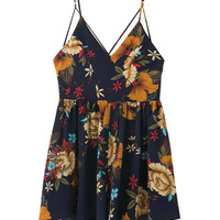 Navy V-Neck Floral Strap Cross Back Romper