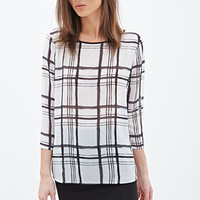 FOREVER 21 Plaid Chiffon Blouse Cream/Black