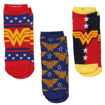 DC Comics Wonder Woman Logo Stars Women's Ankle Socks - 3-Pack