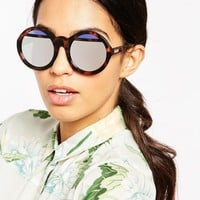 Le Specs Hall Of Mirrors Round Sunglasses