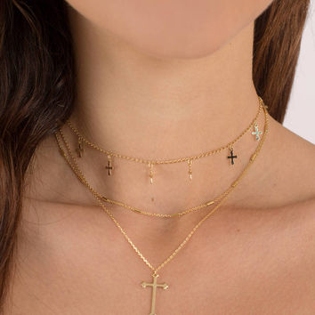 Hope Cross Layered Necklace