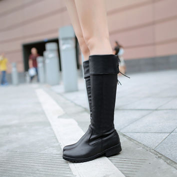 Round Toe Purfle Knee High Boots Low Chunky Heels 8727